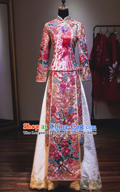 Chinese Traditional Wedding Diamante Xiuhe Suit Ancient Bride Embroidered Champagne Dress for Women