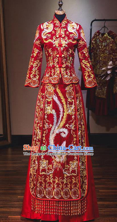Chinese Traditional Bride Red Diamante Xiuhe Suit Ancient Wedding Embroidered Phoenix Dress for Women