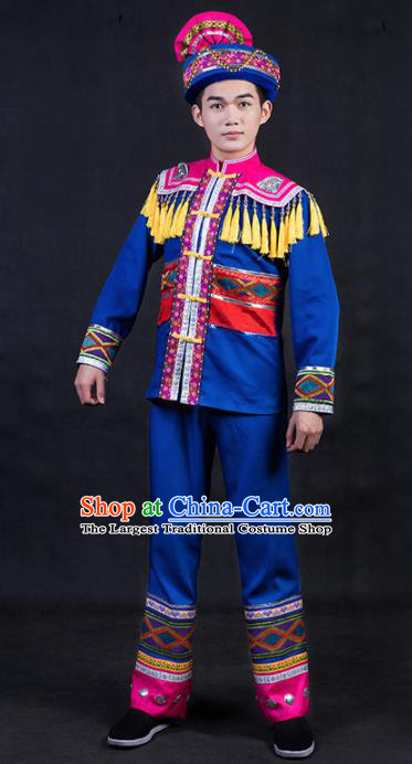 Chinese Traditional Zhuang Nationality Royalblue Clothing Ethnic Festival Folk Dance Costume for Men