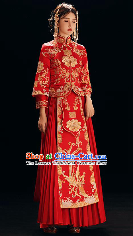 Chinese Traditional Bride Costume Xiuhe Suit Ancient Wedding Red Embroidered Dress for Women