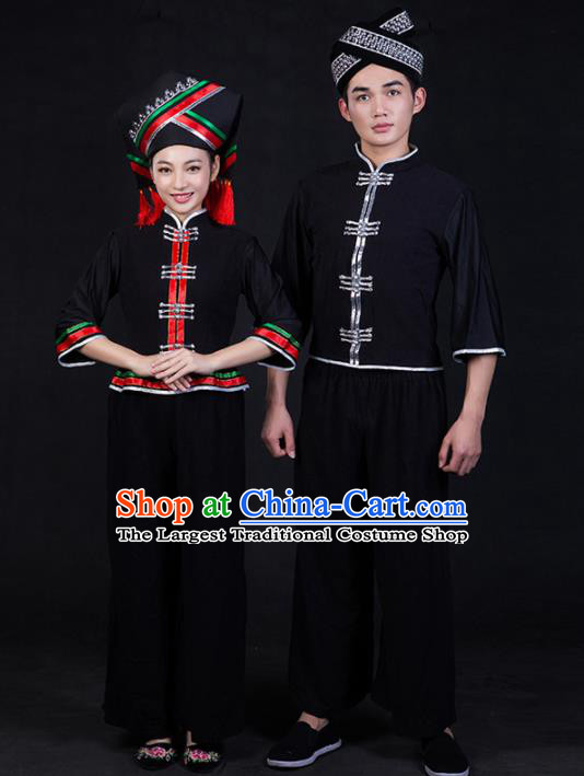 Chinese Traditional Ethnic Folk Dance Costumes Zhuang Nationality Clothing for Women for Men