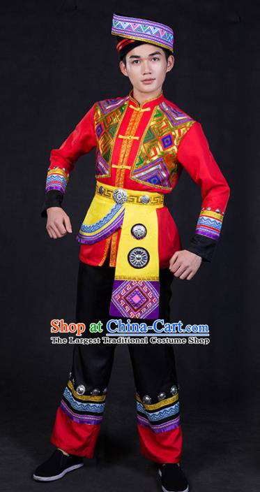 Chinese Traditional Zhuang Nationality Red Clothing Ethnic Festival Folk Dance Costume for Men