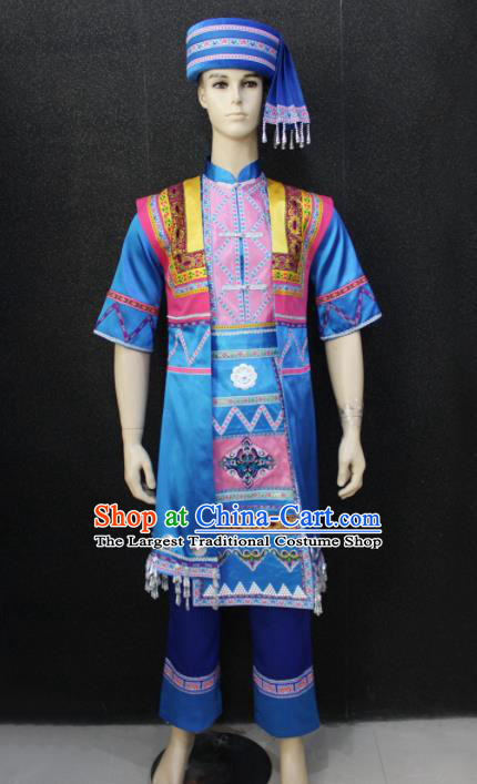 Chinese Traditional Zhuang Nationality Blue Clothing Ethnic Festival Folk Dance Costume for Men