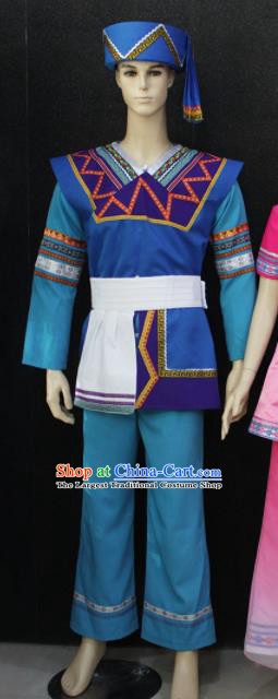 Chinese Traditional Zhuang Nationality Festival Clothing Ethnic Folk Dance Costume for Men