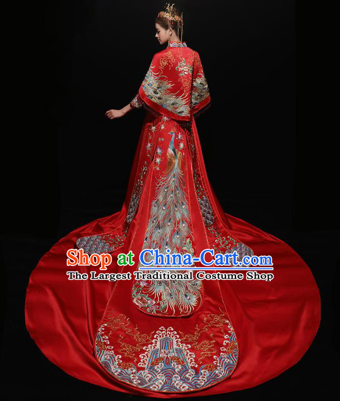 Chinese Traditional Bride Costume Red Xiuhe Suit Ancient Wedding Embroidered Trailing Dress for Women