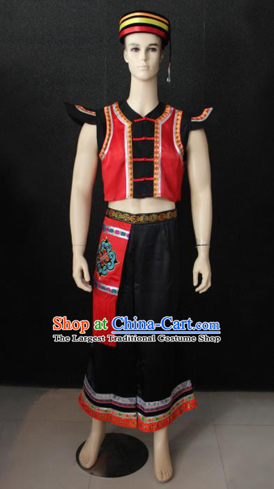 Chinese Traditional Ethnic Folk Dance Costume Zhuang Nationality Festival Clothing for Men