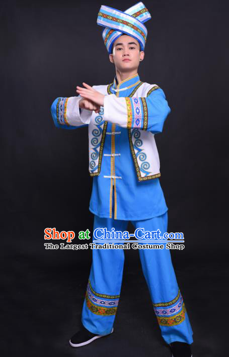 Chinese Traditional Ethnic Blue Costume Zhuang Nationality Festival Folk Dance Clothing for Men