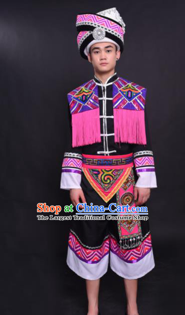 Chinese Traditional Ethnic Pink Tassel Costume Zhuang Nationality Festival Folk Dance Clothing for Men