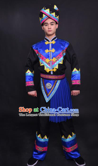 Chinese Traditional Ethnic Blue Tassel Costume Zhuang Nationality Festival Folk Dance Clothing for Men