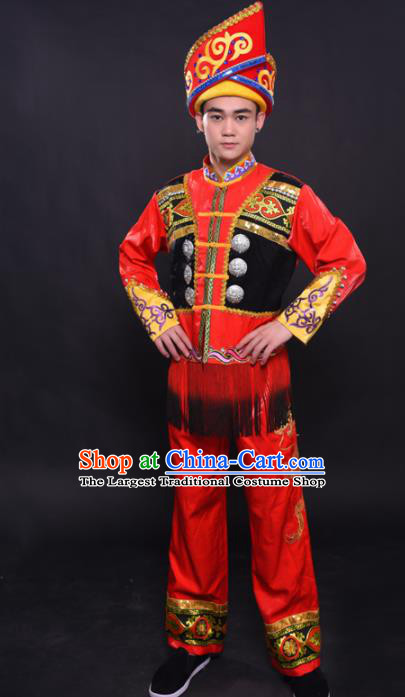 Chinese Traditional Ethnic Bridegroom Red Costume Zhuang Nationality Festival Folk Dance Clothing for Men