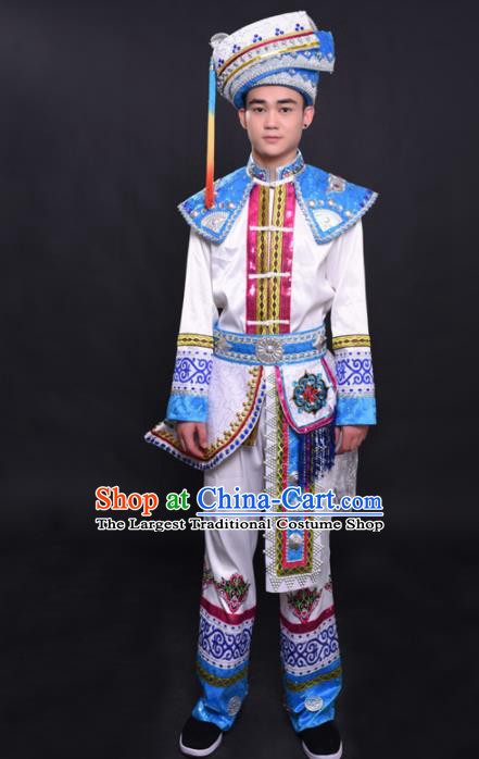 Chinese Traditional Ethnic Prince White Costume Zhuang Nationality Festival Folk Dance Clothing for Men