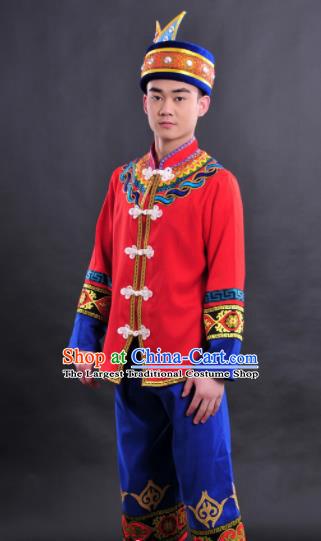 Chinese Traditional Ethnic Red Costume Zhuang Nationality Festival Folk Dance Clothing for Men