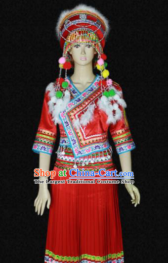 Chinese Traditional Bai Nationality Red Dress Ethnic Bride Folk Dance Costume for Women