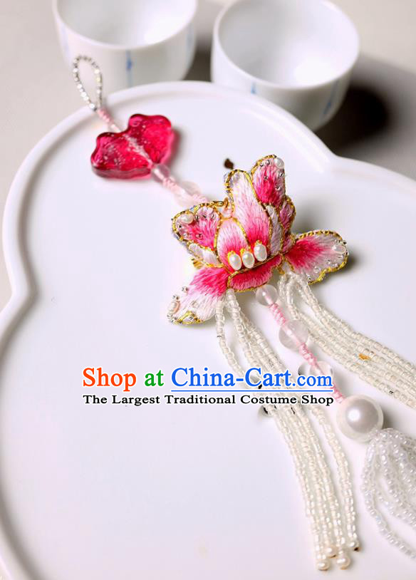 Chinese Traditional Jewelry Accessories Classical Embroidered Pink Mangnolia Tassel Brooch for Women