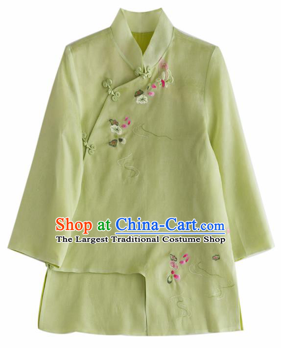 Chinese Traditional National Costume Tang Suit Cheongsam Green Blouse Upper Outer Garment for Women