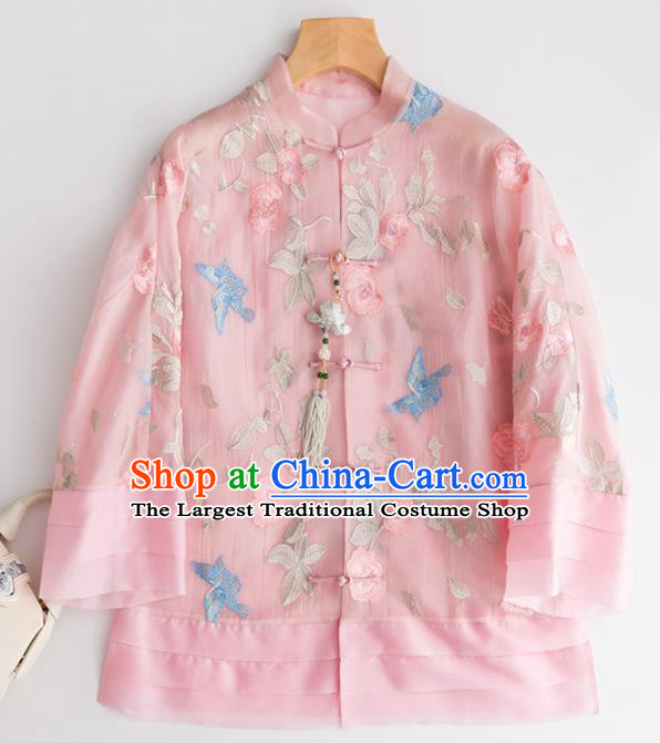 Chinese Traditional National Costume Tang Suit Embroidered Pink Organza Blouse Upper Outer Garment for Women