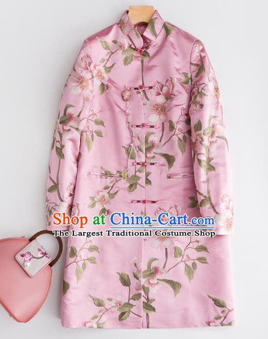 Chinese Traditional National Costume Tang Suit Embroidered Pink Coat Outer Garment for Women