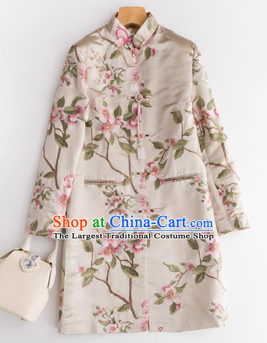 Chinese Traditional National Costume Tang Suit Embroidered Beige Coat Outer Garment for Women