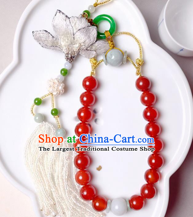 Chinese Traditional Jewelry Accessories Classical Agate Beads Tassel Brooch for Women
