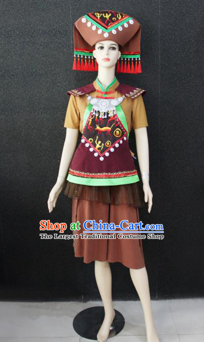 Chinese Traditional Zhuang Nationality Brown Clothing Ethnic Folk Dance Costume for Women
