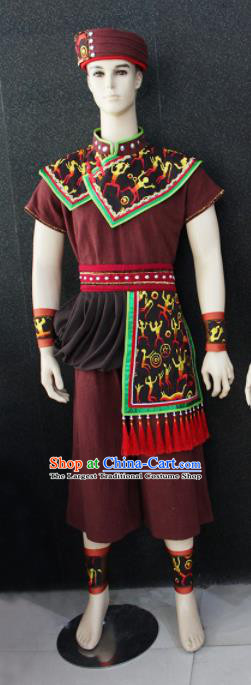 Chinese Traditional Ethnic Folk Dance Brown Costume Zhuang Nationality Festival Clothing for Men