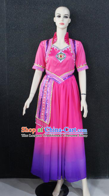 Chinese Traditional Minority Nationality Rosy Dress Ethnic Folk Dance Costume for Women