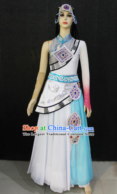 Chinese Traditional Zang Nationality White Dress Tibetan Ethnic Folk Dance Costume for Women