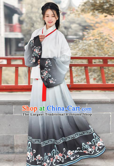 Traditional Chinese Ancient Young Lady Grey Hanfu Dress Ming Dynasty Historical Costume for Women
