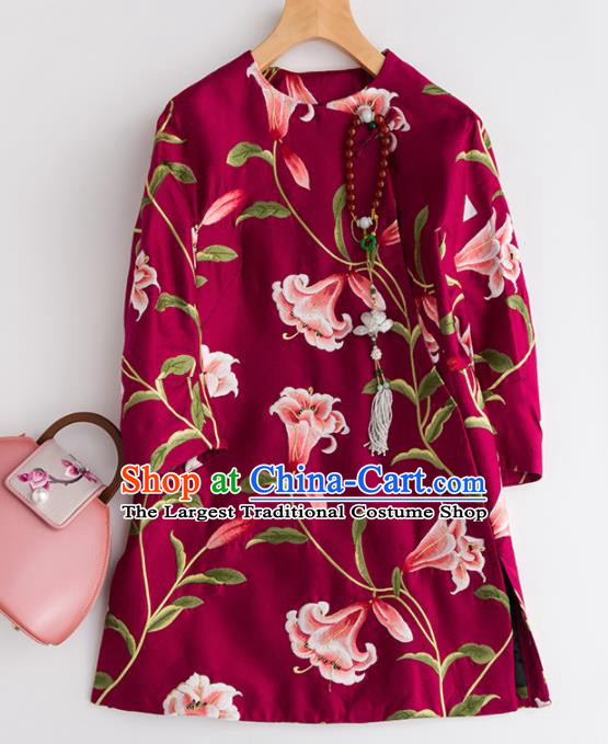 Chinese Traditional National Costume Tang Suit Wine Red Coat Outer Garment for Women