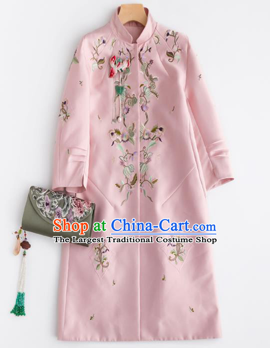 Chinese Traditional National Costume Tang Suit Pink Coat Upper Outer Garment for Women
