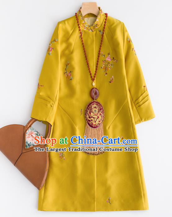 Chinese Traditional National Costume Tang Suit Yellow Dust Coat Embroidered Upper Outer Garment for Women