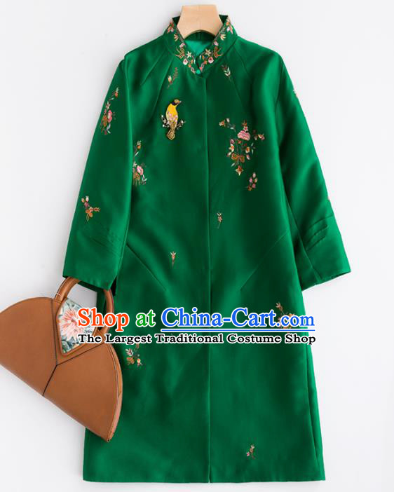 Chinese Traditional National Costume Tang Suit Green Dust Coat Embroidered Upper Outer Garment for Women