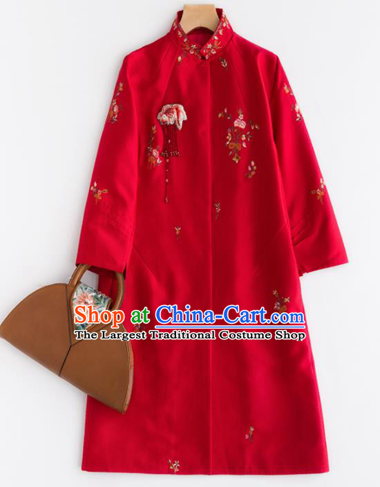 Chinese Traditional National Costume Tang Suit Red Dust Coat Embroidered Upper Outer Garment for Women