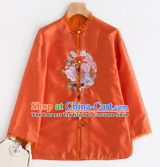 Chinese Traditional National Costume Tang Suit Upper Outer Garment Embroidered Orange Jacket for Women
