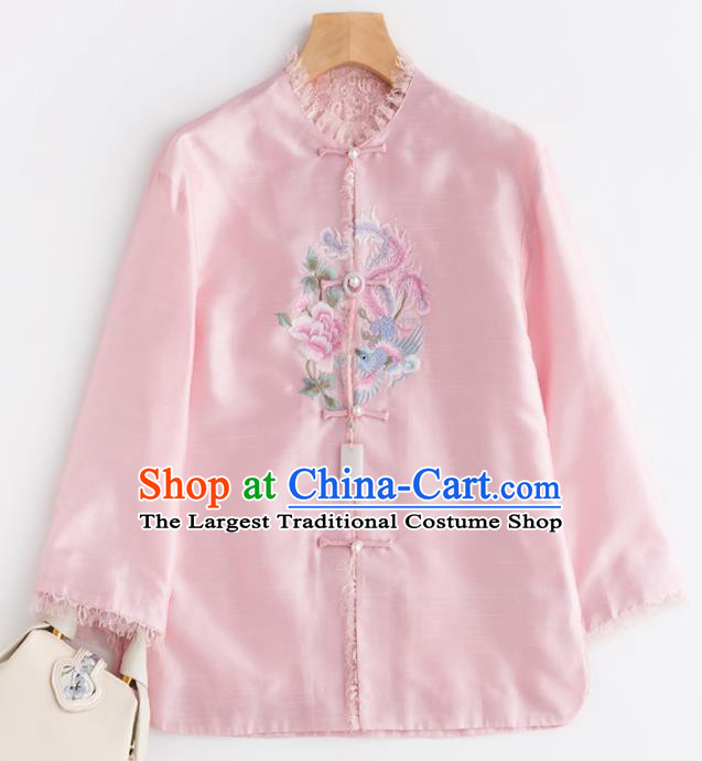 Chinese Traditional National Costume Tang Suit Upper Outer Garment Embroidered Pink Jacket for Women