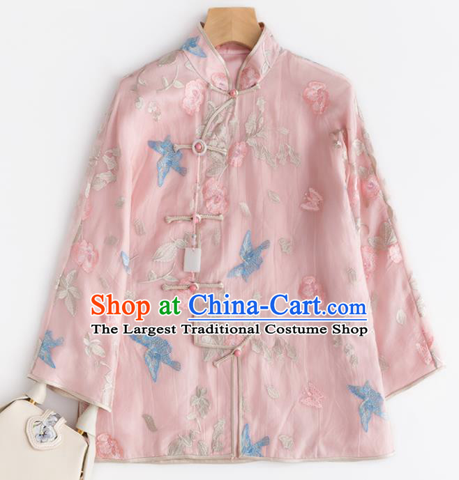 Chinese Traditional National Costume Tang Suit Upper Outer Garment Embroidered Pink Blouse for Women