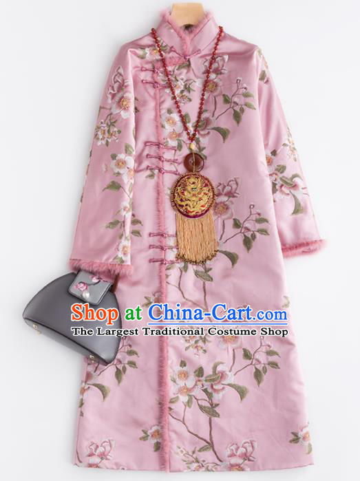 Chinese Traditional Tang Suit Pink Dust Coat National Costume Upper Outer Garment for Women