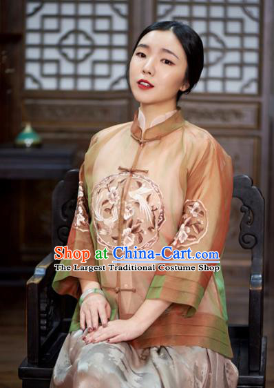 Chinese Traditional Tang Suit Embroidered Silk Blouse National Costume Upper Outer Garment for Women