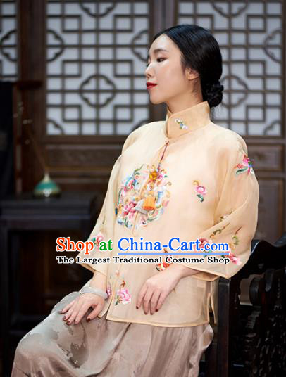 Chinese Traditional Tang Suit Embroidered Beige Silk Blouse National Costume Upper Outer Garment for Women