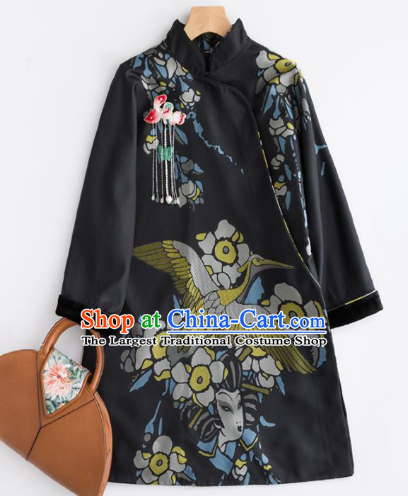 Chinese Traditional National Winter Costume Tang Suit Upper Outer Garment Black Coat for Women