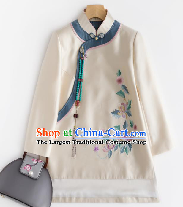 Chinese Traditional Tang Suit National Costume Upper Outer Garment Embroidered White Coat for Women
