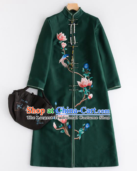 Chinese Traditional Tang Suit National Costume Upper Outer Garment Green Dust Coat for Women