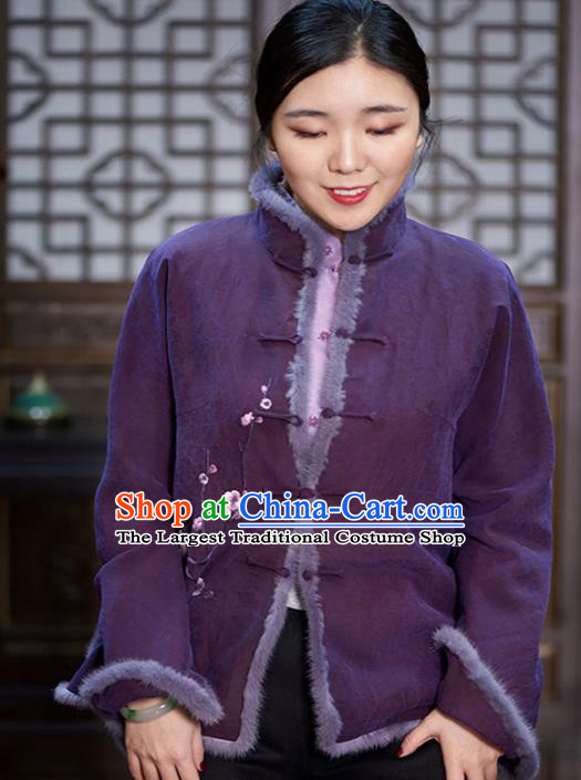 Chinese Traditional Tang Suit Cotton Wadded Jacket National Costume Upper Outer Garment for Women
