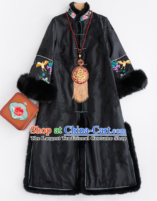 Chinese Traditional Tang Suit Black Dust Coat National Costume Upper Outer Garment for Women