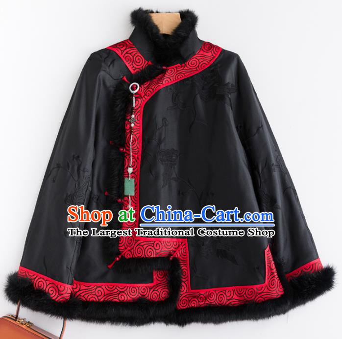 Chinese Traditional Tang Suit Black Cotton Wadded Jacket National Costume Upper Outer Garment for Women