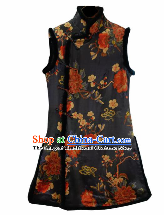 Traditional Chinese National Costume Tang Suit Black Silk Waistcoat for Women