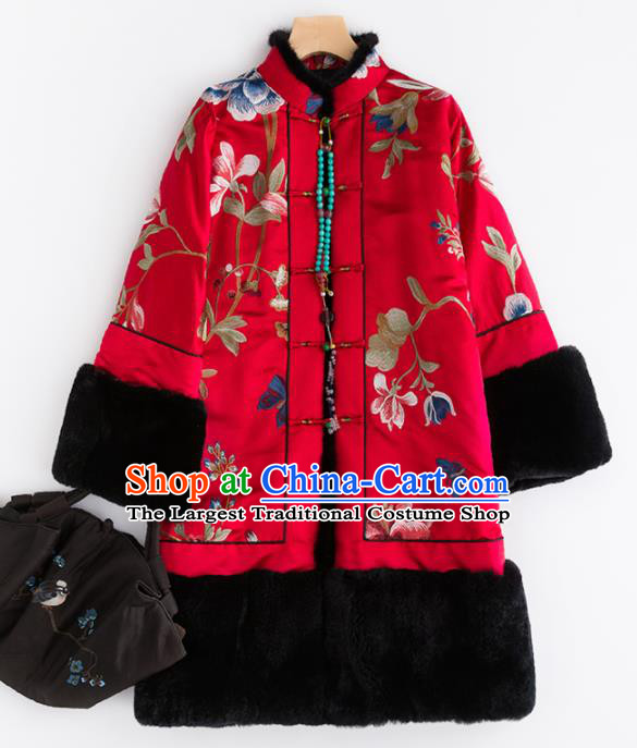 Chinese Traditional Tang Suit Red Cotton Padded Coat National Costume Upper Outer Garment for Women