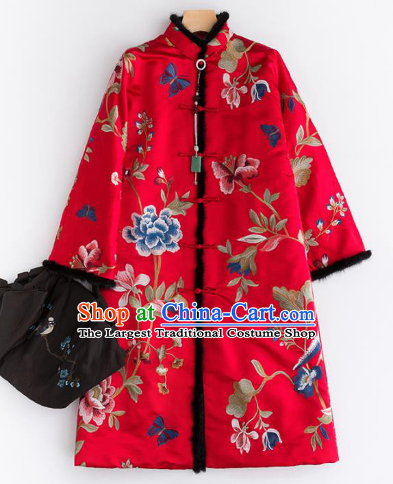 Chinese Traditional Tang Suit Red Satin Cotton Padded Coat National Costume Upper Outer Garment for Women