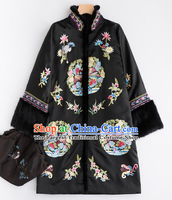 Chinese Traditional Tang Suit Black Cotton Padded Coat National Costume Upper Outer Garment for Women