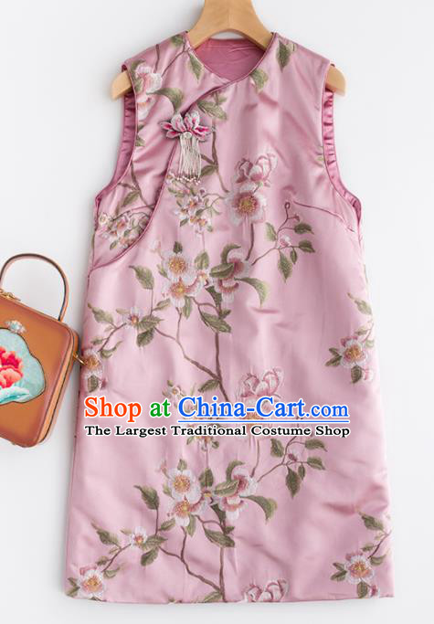 Traditional Chinese National Costume Tang Suit Pink Cotton Padded Waistcoat for Women